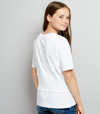 Teens White Shirred Waist T-Shirt New Look
