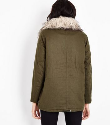 Khaki Faux Fur Collar Short Parka New Look
