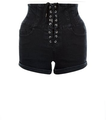 Black Corset Front High Waisted Shorts New Look