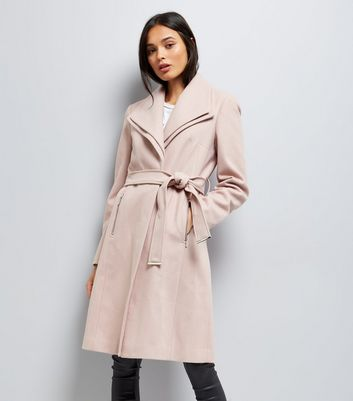 Mink Layered Collar Belted Coat New Look