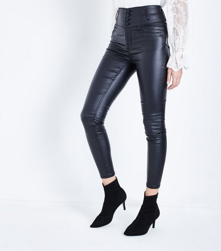 online for sale wide selection of colours and designs newest style of Black Coated High Waist Skinny Yazmin Jeans Add to Saved Items Remove from  Saved Items