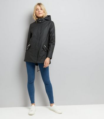 Black Quilt Lined Anorak New Look