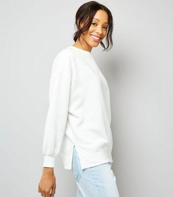 White Slouchy Split Side Sweatshirt New Look
