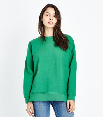 Green Slouchy Side Split Sweatshirt New Look