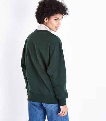 Dark Green Slouchy Side Split Sweatshirt New Look