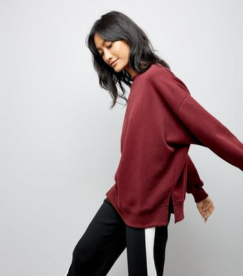 Burgundy Slouchy Split Side Sweatshirt New Look