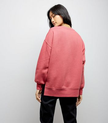 Pink Slouchy Split Side Sweatshirt New Look