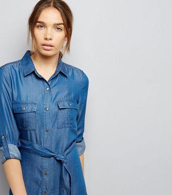 Blue Denim Belted Shirt Dress New Look