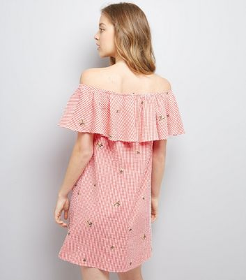 Red Floral Embroidered Gingham Bardot Neck Dress New Look