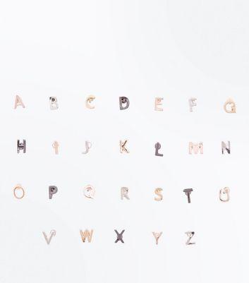 Metallic Alphabet Stud Earring Pack New Look