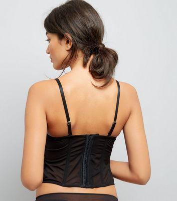 Black Velvet Stud Embellished Basque New Look