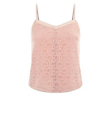 Teens Shell Pink Lace Cami New Look