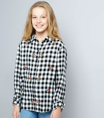 Teens Black Floral Embroidered Gingham Shirt New Look