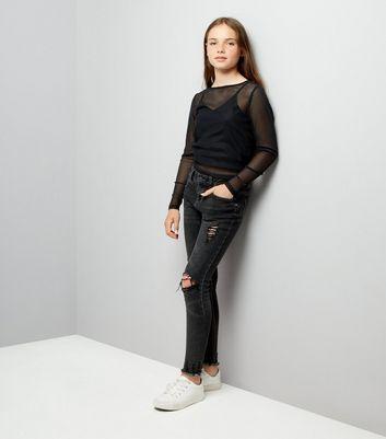 Teens Black Ribbed Mesh Long Sleeve Top New Look