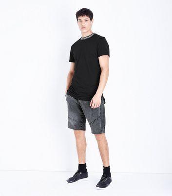 Black Text Neck Trim T-Shirt New Look