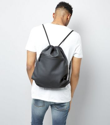 Black Coated Drawstring Backpack New Look