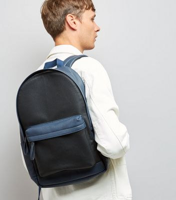 Black Colour Block Leather-Look Backpack New Look