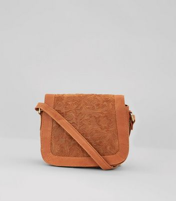 Tan Floral Embossed Saddle Bag New Look