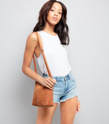 Tan Suede Zip Top Shoulder Bag New Look