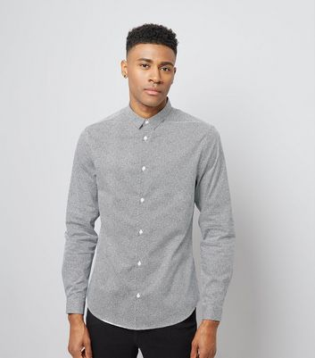 Pale Grey Pebble Dash Print Shirt New Look