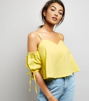 Yellow Cold Shoulder Cami Top New Look