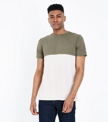 Khaki Contrast Block T-Shirt New Look