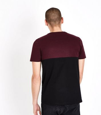 Burgundy Contrast Block T-Shirt New Look