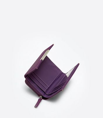 Purple Fold Over Front Zip Around Purse New Look