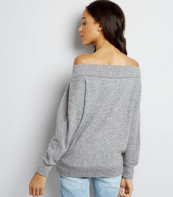 Grey Bardot Neck Jumper New Look