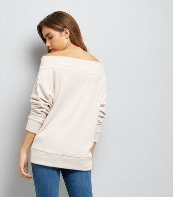 Cream Bardot Neck Jumper New Look