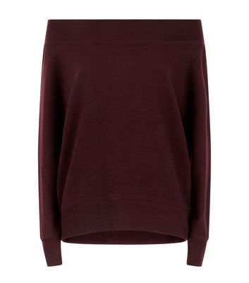 Burgundy Bardot Neck Jumper New Look