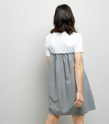 Black Gingham Check 2 in 1 Dress New Look