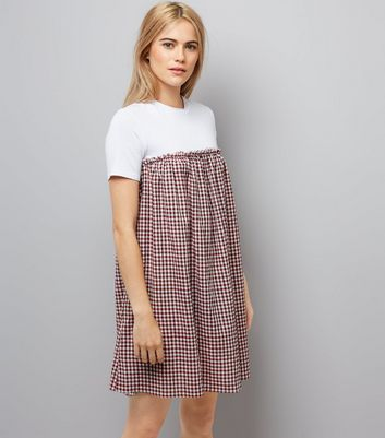 Red Gingham Check 2 in 1 Dress New Look
