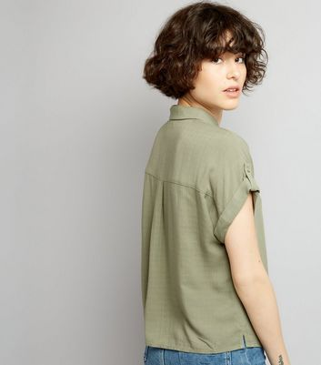 Khaki Short Sleeve Shirt New Look