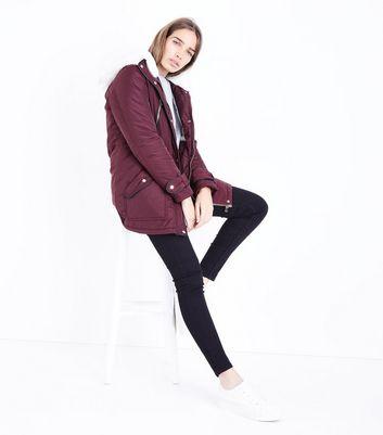 Burgundy Faux Fur Trim Hooded Parka New Look