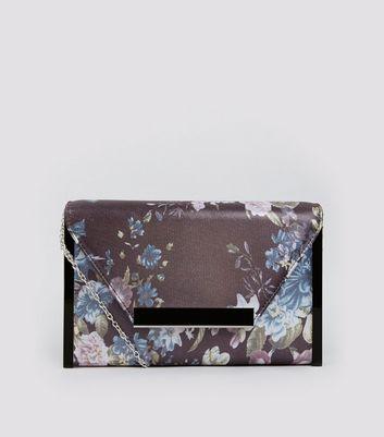 Grey Floral Print Envelope Box Clutch Bag New Look