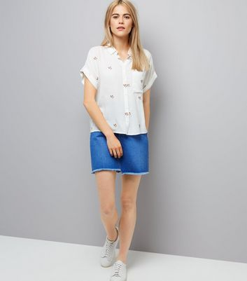 Cream Embroidered Short Sleeve Shirt New Look