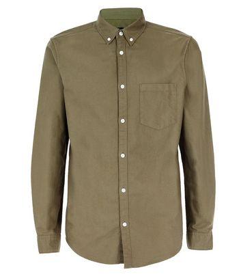 Khaki Long Sleeve Oxford Shirt New Look