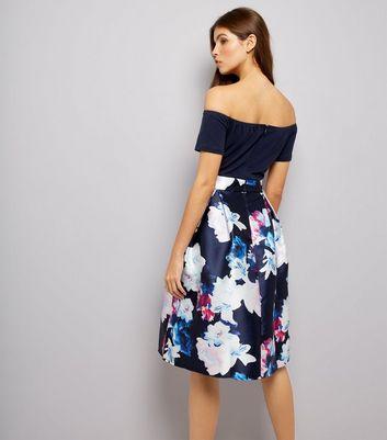 AX Paris Blue Floral Print 2 in 1 Bardot Neck Dress New Look