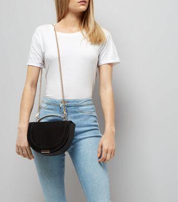 Black Curved Metal Handle Cross Body Bag New Look