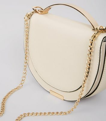 Nude Curve Metal Trim Shoulder Bag New Look