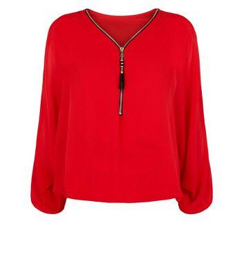 Mela Red Zip Front Batwing Sleeve Top New Look