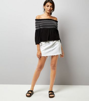 Black Contrast Shirred Panel Bardot Neck Top New Look