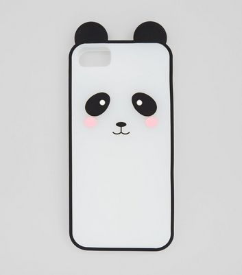 Black Silicone Panda iPhone Case New Look
