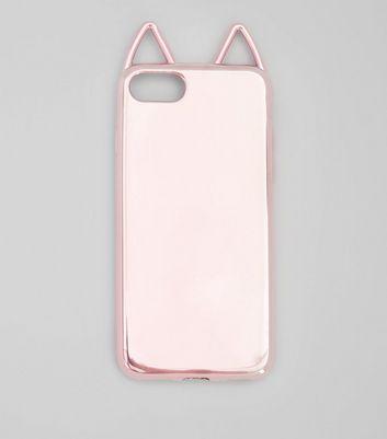 Pink Metallic Cat Ear iPhone Case New Look