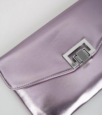 Lilac Metallic Shoulder Bag New Look