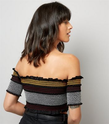 Black Stripe Shirred Bardot Neck Crop Top New Look