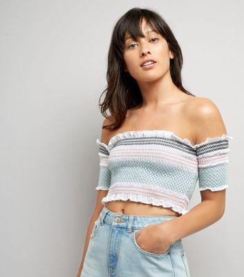 White Stripe Shirred Bardot Neck Crop Top New Look