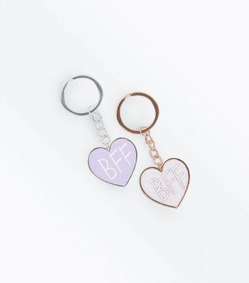 2 Pack Pink BFF Keyrings New Look