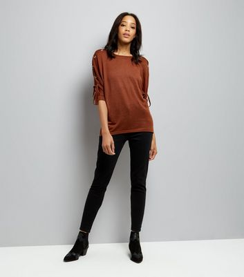 Brown Lace Up Eyelet Batwing Sleeve Top New Look